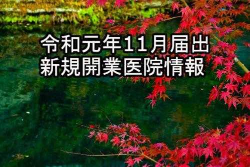 令和元年11月届出  新規開業医院情報(近畿)