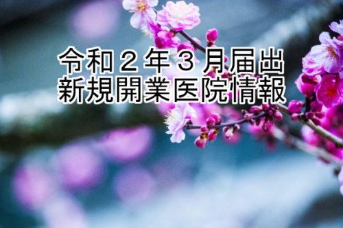 令和2年3月届出  新規開業医院情報(近畿)